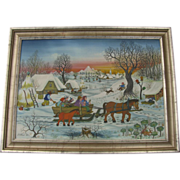 Oil on Canvas Painting by  Slobodan Kesic Croatian Naive Primitive 1975 Winter Snow