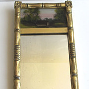 Miniature Salesman's Sample Reverse Painted Gilt Mirror c 1840