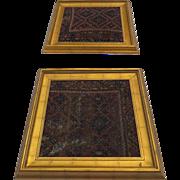 """Two Large Vintage Persian Rug Fragments Framed in Gilt Bold Frames 33"""" Square"""