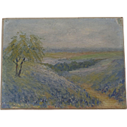 Small Oil on Board Open Air Plein Air Landscape Signed