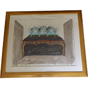Signed and Dated Mixed Media Painting Gothic Windows Louis XV Desk by Danial Strawn Fantasy Furniture