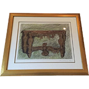 Signed and Dated Mixed Media Painting Console Table  by Danial Strawn Fantasy Furniture