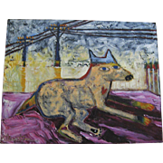 Painting Dog on Deck by Wendy Jane Bantam Signed