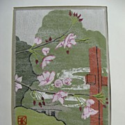 Woodblock Print Signed and Dated Spring Fog San Francisco Tea Garden