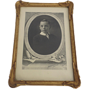 Fine Closed Corners Gilt Portrait Cabinet Frame with Photo of Young Boy Signed  B. L. Hopkins Denver Photographer 1920's