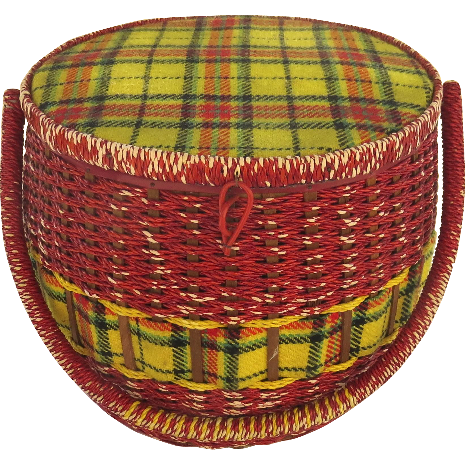 How To Weave A String Basket : Vintage large sewing basket plaid and red twisted string