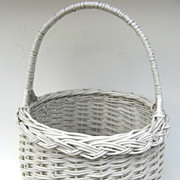 Charming White Painted Vintage Wicker Basket