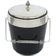 Vintage Gorham Silver Plated Ice Bucket Black Acrylic