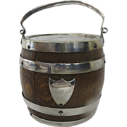 English Oak and Silver Plate Biscuit Barrel by Daniel & Arter, Birmingham