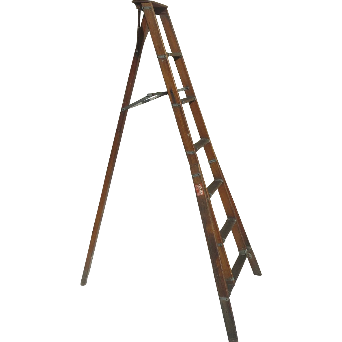 """Vintage Wooden Large Ladder """"Red Top"""" Display From"""