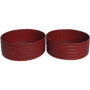 Pair of Regency Red-Laquered Papier-Mache Wine Coasters Bottle Slides  Circa 1820