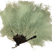 Green Ostrich Feather Fan Circa 1920's