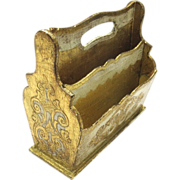 Vintage Florentine Italian Letter Holder with Gold Gilt