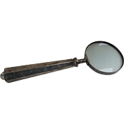 Vintage Large Silver Plated Magnifying Glass Desk
