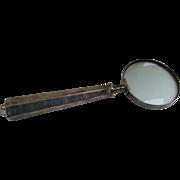 Vintage Large Silver Plated Magnifying Glass Desk