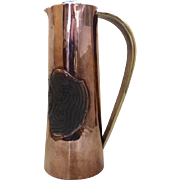 Vintage Copper and Brass Cocktail Pitcher Aztec Indian Mexico