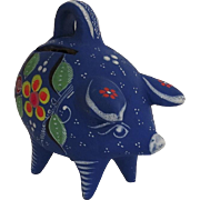 Vintage Bright Royal Blue Decorated Piggy Bank Made in Mexico Mexican