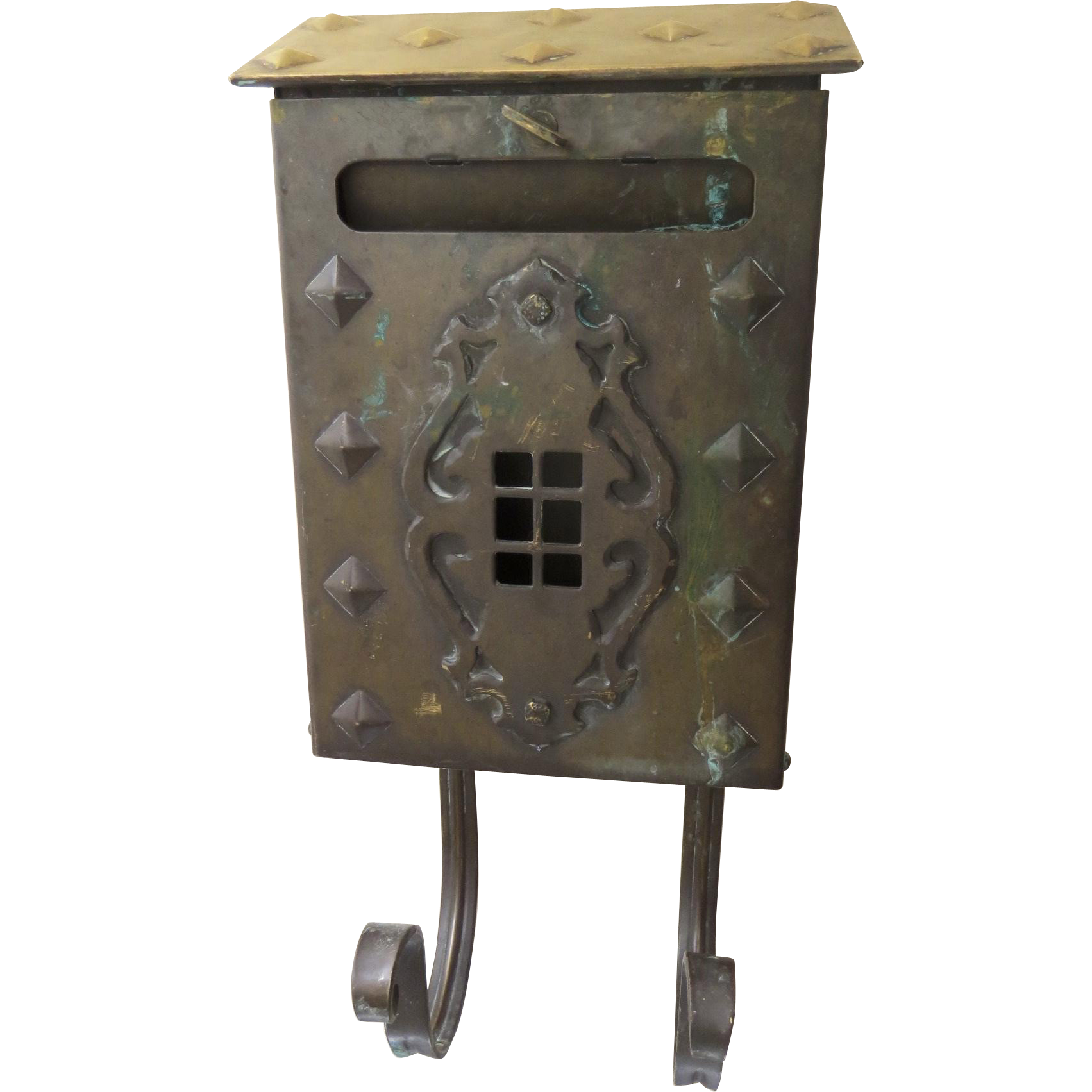 Vintage 1920's Arts & Crafts Craftsman Solid Brass Mailbox Great Patina