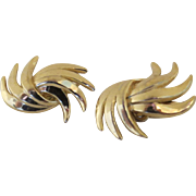 Vintage Gold Tone Trifari Clip Earrings