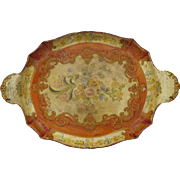Vintage Italian Italy Painted Florentine Papier Mache Tray with Side Handles