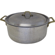 Vintage Stainless Steel Cast Brass Handles Dutch Oven Pan Stock Pot 4 Quarts