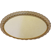 Large Vintage Matson Stylebuilt Gold Filagree Vanity Oval Tray Mirror Hollywood