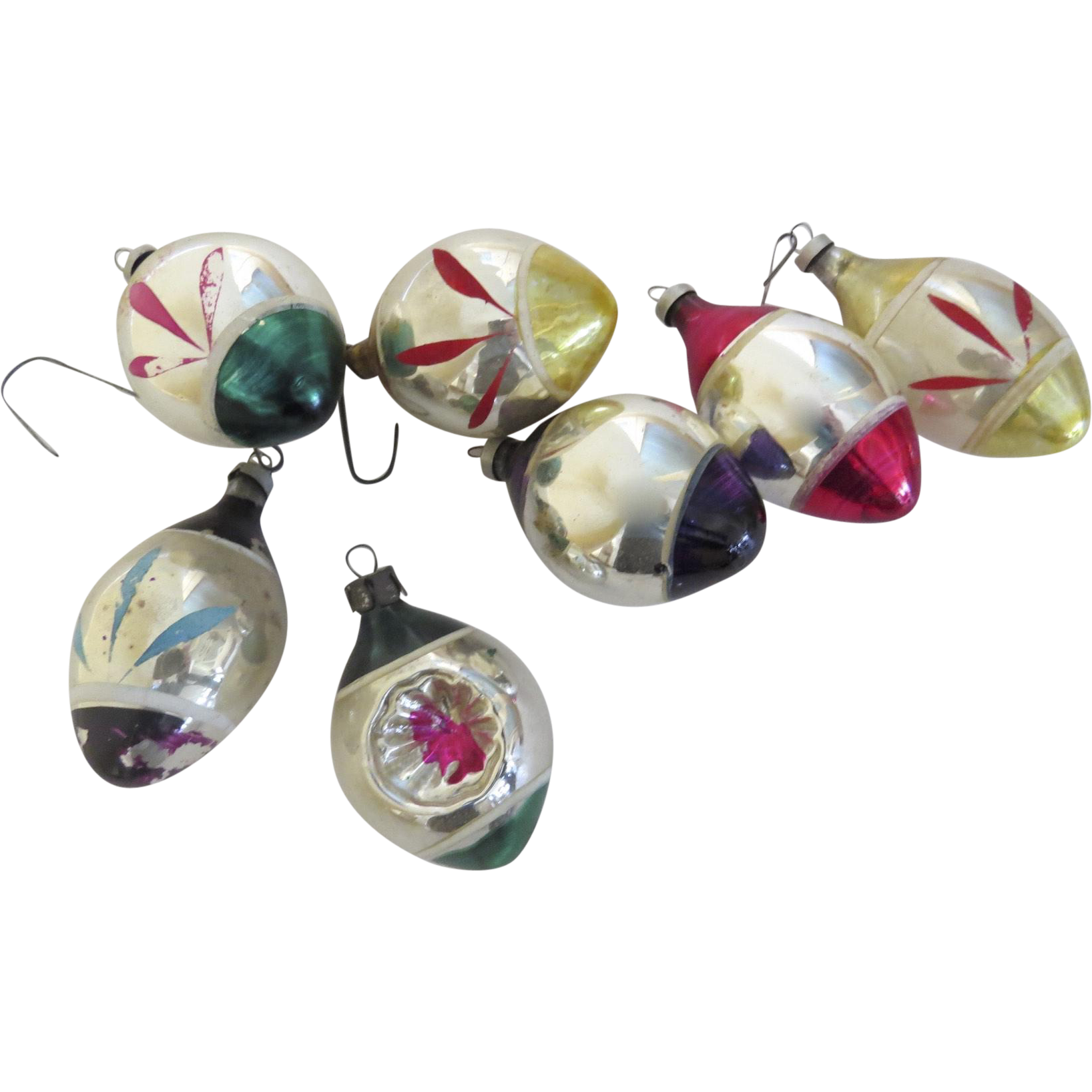Group of Seven (7) Vintage Glass Painted Ornaments Tear Drop