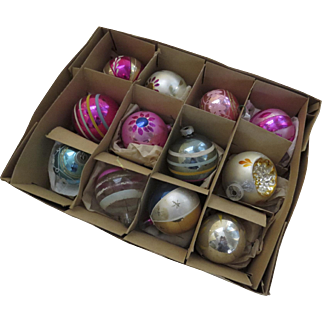 30 x Vintage Glass Ornaments Painted