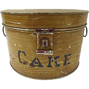 Vintage Faux Wood Grain Painted Cake Tin by Kreamer  1900's Country Kitchen