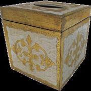Vintage Gold Gilt White Florentine Tissue Kleenex Box Holder