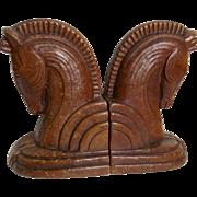 Vintage Syroco Wood Deco Horse Head Bookends Trojan