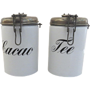 1930's Milk Glass Canisters Cacao Cocoa Tee Tea