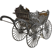 1900's Dollhouse Miniature Baby Buggy Carriage Stroller Pram Filagree Metal As Is