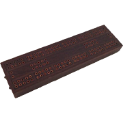 Vintage Cribbage Board Inlaid Wood Inlaid Copper