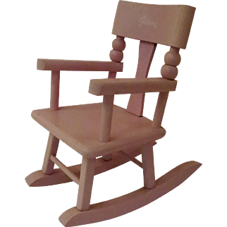 Vintage 1950's Ginny Vogue Doll Pink Painted Rocking Chair