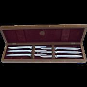 Vintage Set of 6 GERBER MIMING LEGENDARY BLADES Steak Knives in Original Walnut Case