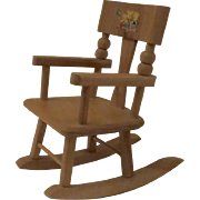 Vintage Strombecker Wood Doll-Size Rocking Chair Three Bears