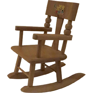 Vintage Strombecker Wood Doll-Size Rocking Chair Three Bears