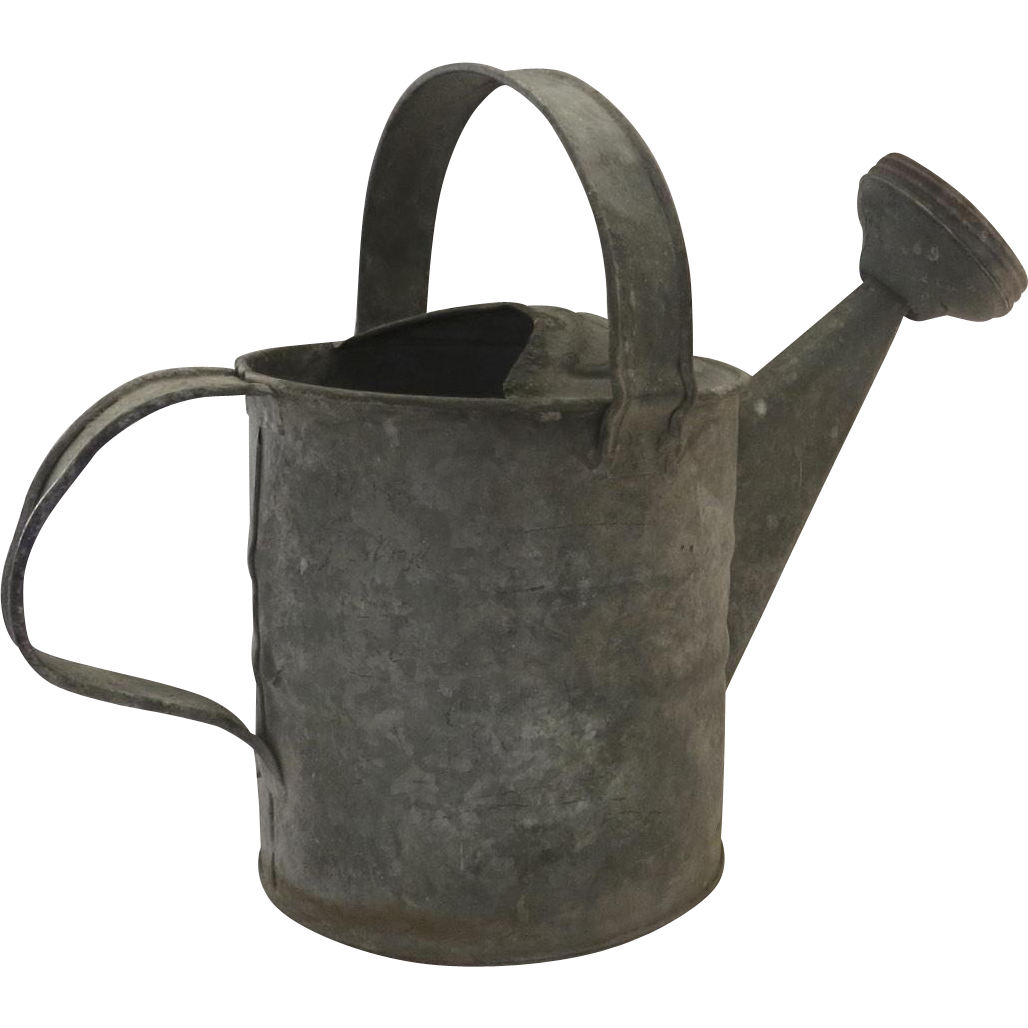 Vintage Older Galvanized Zinc 4 qt Watering Can Small Country Rustic