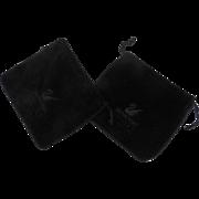 Two Vintage Swarovski Drawstring Velvet Storage Bags