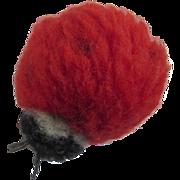 Vintage 1960's Steiff Mini Ladybug Wool Pom Pom