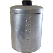Vintage 1950's Everbrite Aluminium Sugar Canister Made in Italy