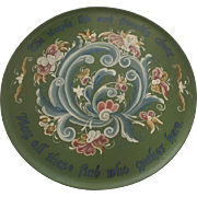Large Vintage Signed Dated Rosemaling Plate Plaque