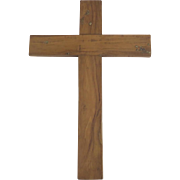 Large Vintage Olive Wood Cross Religious