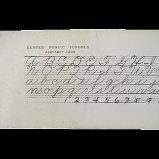 Vintage Denver Public Schools Alphabet Penmanship Card