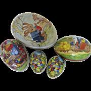 5 x Vintage Estate Nestler West Germany German Papier Mache Easter Eggs Candy Box