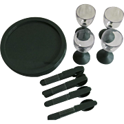 Vintage Bodum Swiss Plastic Picnic Set Plates Cutlery Wine Glasses