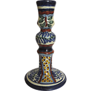 Vintage Talavera Candlestick Glazed in Bright Colors Mexico Mexican