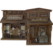 Vintage Old West Saloon & General Store 3-D Wooden Diorama Wall Art Trains