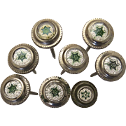 Set of 8 Nail Covers glass Victorian green STAR - Picture Painting 1800's